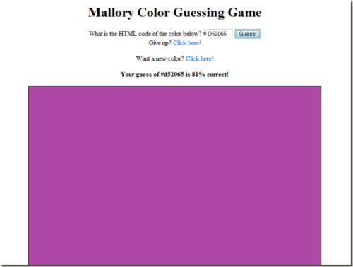 Mallory Color Guessing Game